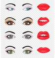 Set of glamour lips with pink lipstick color vector image