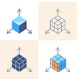 3d object modeling concept icon set in flat and vector image vector image