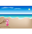 A Sandal on The Beach vector image vector image