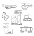 Air and rail delivery service icons vector image vector image