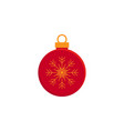 bauble christmas new year red flat icon on white vector image vector image