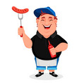 bbq young cheerful man cooks grilled sausages vector image