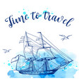 blue travel background with sailing ship vector image