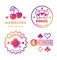 bright gambling casino poker royal roulette vector image vector image