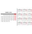 calendar 2019 week start on monday vector image