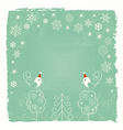 Christmas card with snowflakes and birds vector image