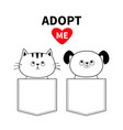 cute cat dog sitting in pocket adopt me red vector image vector image