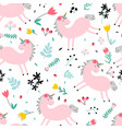 cute unicorn and flowers seamless pattern print vector image