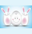 easter egg and bunny background vector image vector image