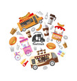flat street food round concept vector image vector image