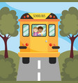 girl and boy students in the school bus vector image vector image