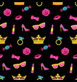 girl fashion embroidery seamless pattern vector image vector image