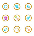 Hand pointer icons set cartoon style
