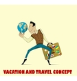 Happy man going to vacation vector image