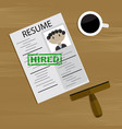 hired concept top view vector image vector image