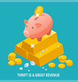 isometric piggy bank gold bullion diamond and vector image vector image