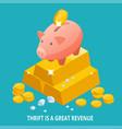 isometric piggy bank gold bullion diamond and vector image