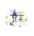 man fishing in office vector image vector image