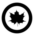 maple leaf silhouette icon black color in circle vector image vector image
