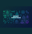 merry christmas outline colorful horizontal vector image