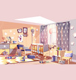 messy child bedroom sunny interior cartoon vector image vector image