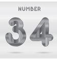 Metallic alphabet Set of stainless 3d numbers vector image vector image