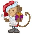 Monkey symbol 2016 in Santa hats holding gift box vector image vector image