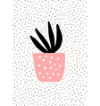 Pink Pot with Succulent Plant vector image vector image