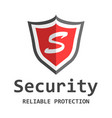 red shield logo in flat style with word security vector image