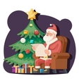 Santa Claus Read Gift List Sit Armchair Character vector image