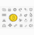 set line stroke cryptocurrency icons vector image