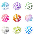 set of minimalistic shapes halftone spheres vector image