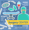 surgery center poster with surgeon and instruments vector image