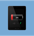 the tablet needs charging discharged on a blue vector image vector image