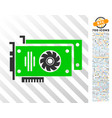 video cards flat icon with bonus vector image vector image