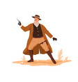 western cowboy in hat vest and scarf holding vector image