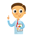 Business man holding documents and pointing finger vector image