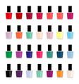 set of colored nail polishes vector image