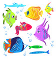 cute fishes cartoon collection vector image