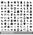 100 rags icons set simple style vector image vector image