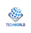 abstract tech world globe logo template vector image vector image