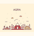 agra skyline india trendy linear style vector image