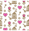 bird cage romantic outline seamless pattern vector image vector image