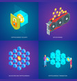 blockchain and cryptocurrency concepts set vector image vector image