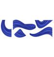 blue silk swirl waves set isolated curtain vector image