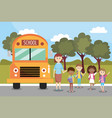 boys and girls students and school bus vector image vector image