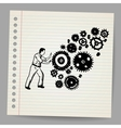 Business man pushing a cogwheel doodle concept vector image