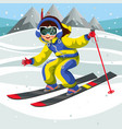 cartoon girl skiing fast from snowy hill vector image vector image