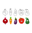 cartoon vegetables set coloring book pages fo vector image vector image