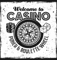 casino emblem with roulette wheel dice chips vector image vector image
